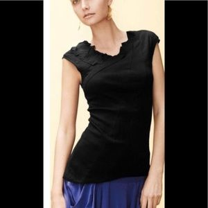 NWT ANTHRO One September Black Origami Top Tee M